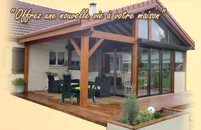 Veranda bois bourg en bresse veranda - Agrandissement maison veranda ...